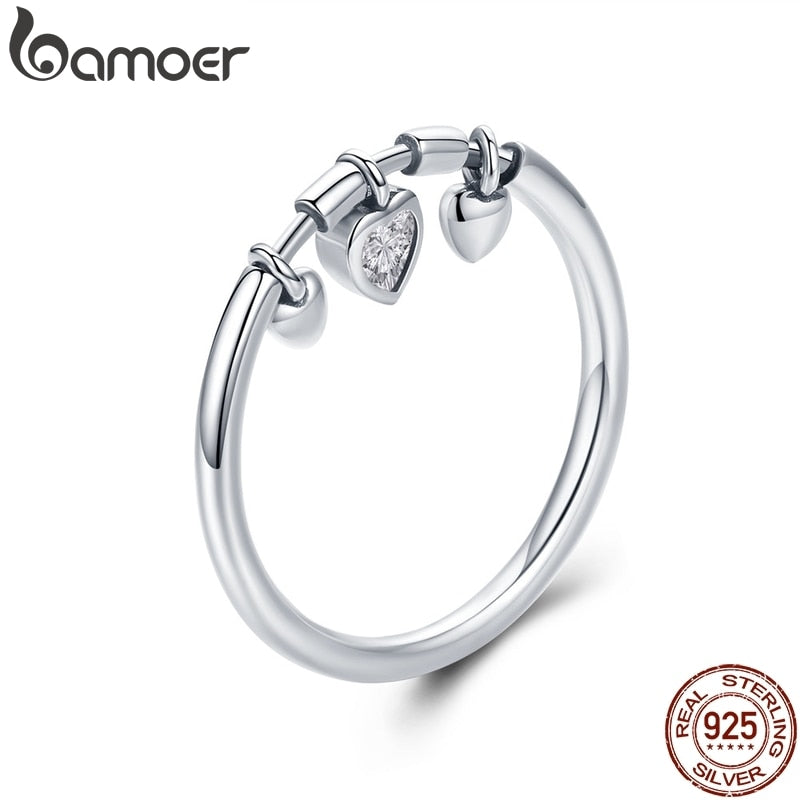BAMOER 925 Sterling Silver Glittering Heart Clear CZ Anel Female Ring Women Wedding Engagement Jewelry SCR215