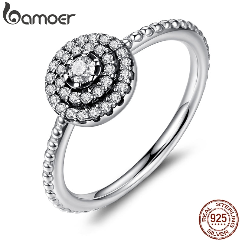 BAMOER 925 Sterling Silver Round Shape Radiant Elegance, Clear CZ Flower Finger Rings for Women ANNIVERSARY SALE 2019 PA7178