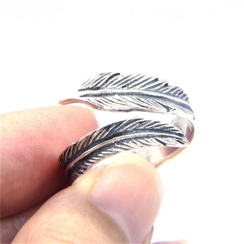 Support Dropship 925 Sterling Silver Steel Feather Ring Newest Lady Girls S925 Fashion Feather Ring