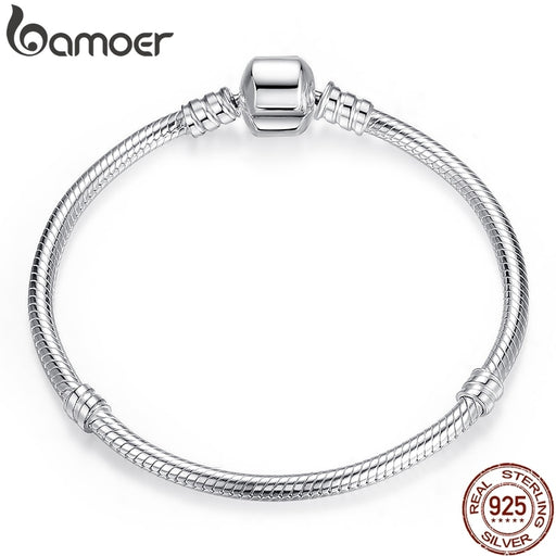 BAMOER Christmas SALE Authentic 100% 925 Sterling Silver Snake Chain Bangle & Bracelet for Women Luxury Jewelry 17-20CM PAS902