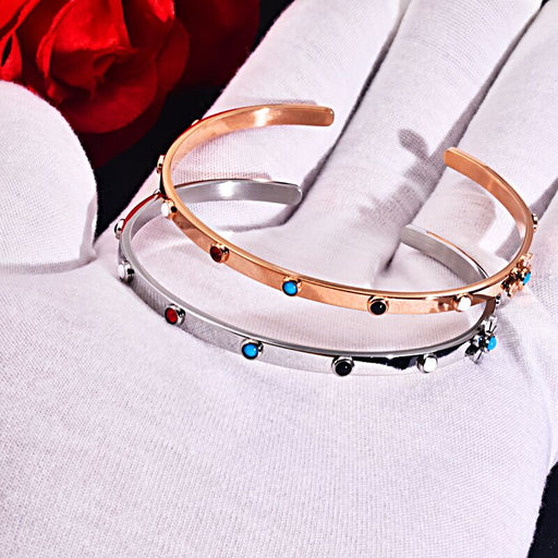 2019 Stainless Rose gold Silver Open Cuff with natural blue red black stone Jewelry bracelet bangles Pulsera mujer bears style
