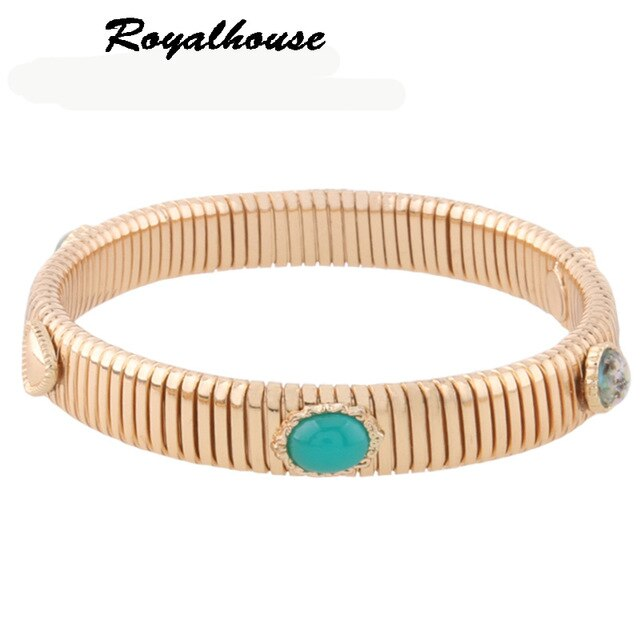 Royalhouse Spring chain Bracelets Silve Copper Brand Bangles Woman Open Gradient Manual for National Charm Jewelry Gift