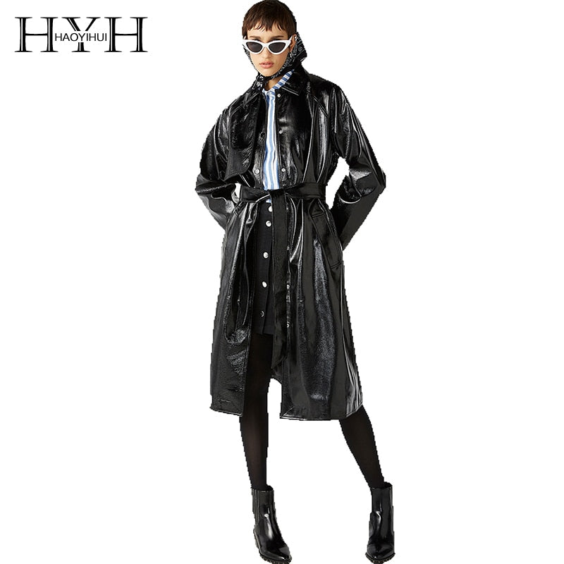 HYH Haoyihui  Fashion Sexy Long Coats New Style Delicate Bind Classic Waistband Knotted Split Leather Reflective Trench Coat