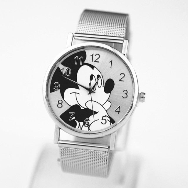 New  Mickey Mouse Fashion Brand Watches New Cartoon Women quartz watch Lady Stainless steel ladies dress watches kobiet zegarka