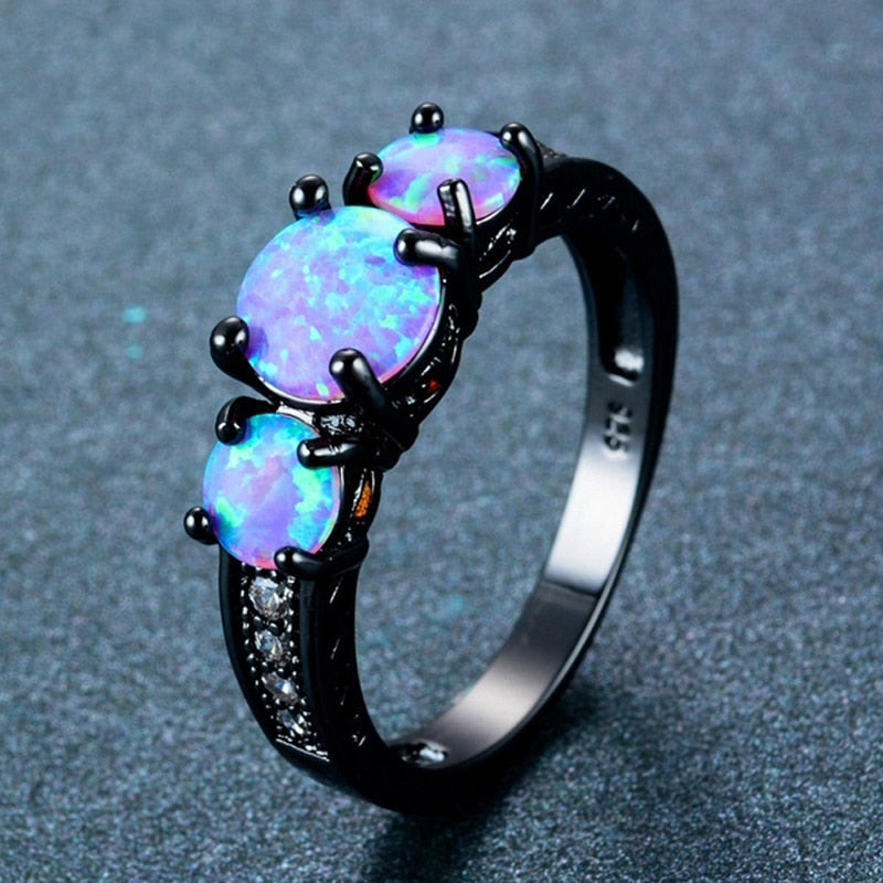 Hollow Design Oval Rainbow Fire Opal Ring Jewelry For Women Black Titanium Wedding Engagement Rings Bague Femme