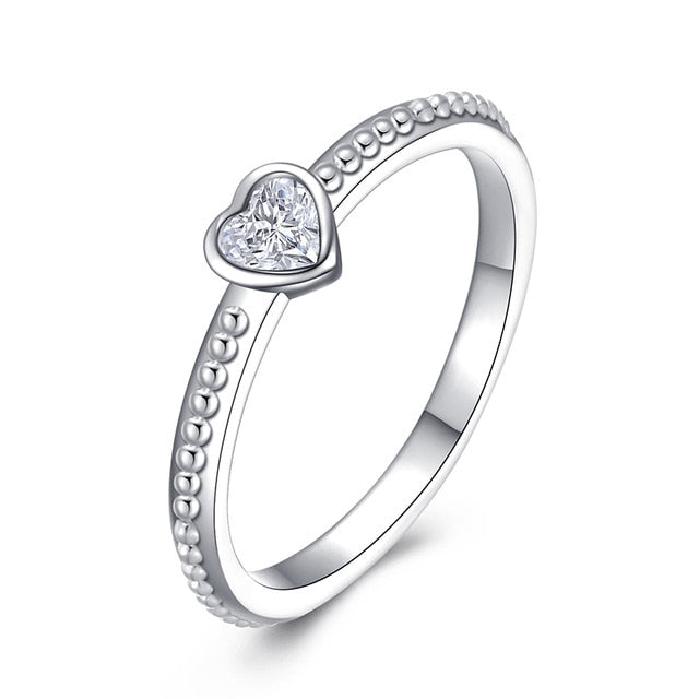 Fashion Crystal Silver Color Ring For Women Flower Love Heart Crown Finger Rings Cocktail Part Brand Ring Jewelry Dropshipping