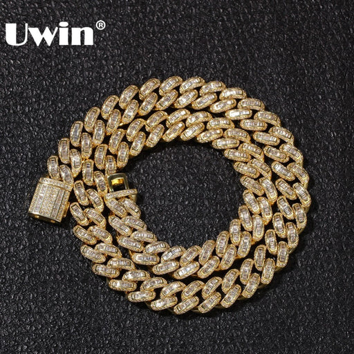 UWIN Luxury Iced Cubic Zircon Miami Baguette Cuban Link Chain Necklaces Hiphop Sqaure CZ Fashion Top Quality Mens Jewelry Chain