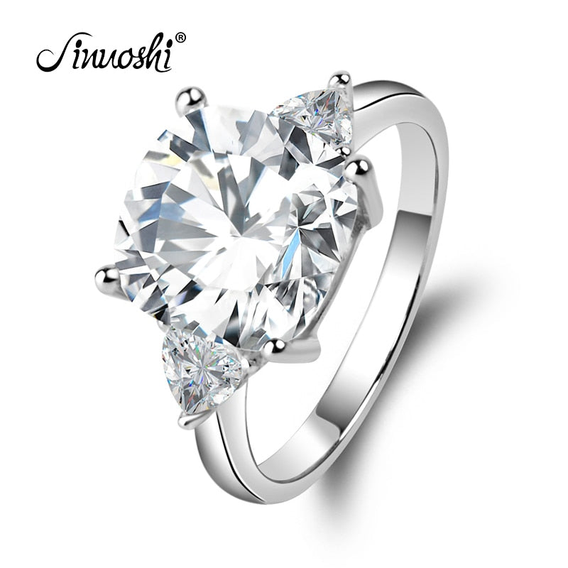 Big 5 Carat Cushion Square Cut Wedding Ring 3 Stones Rings 925 Sterling Silver Band Women Engagement Wedding Rings Wholesale