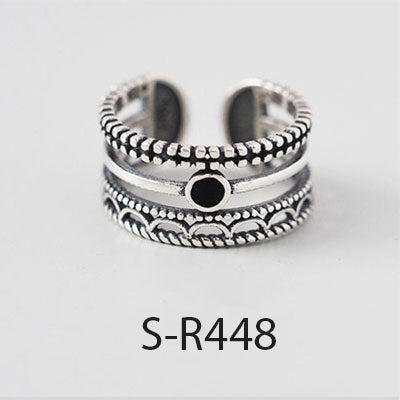 ANENJERY Vintage Handmade 925 Sterling Silver Rings For Men Women Size 18mm Adjustable Thai Silver Rings Personality S-R445