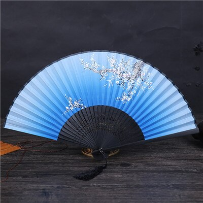 Chinese Japanese DIY Plain Color Bamboo Large Rave Folding Hand Fan Event Party Supplies 1pcs