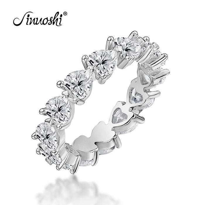 AINUOSHI 925 Sterling Silver Wedding Engagement Full Enternity Rings Anniversary Heart Cut Ring Silver Women Bridal Ring Jewelry