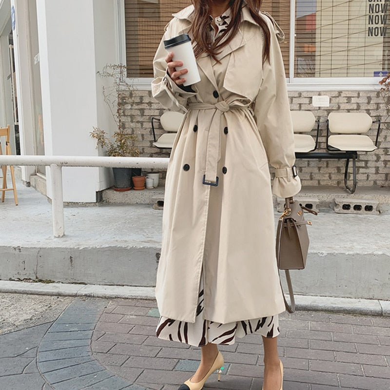 2019 New Autumn Winter Women's Coat Korean Windbreaker Female Plus Size Double Breasted Ladies Long Chic Trench Coats