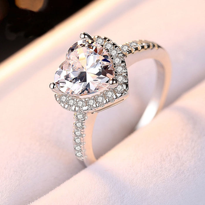8mm CZ Stone Romantic Heart Ring Engagement Solid 925 Sterling Silver Jewelry Surprise Gift Proposal Ring for Girlfriend