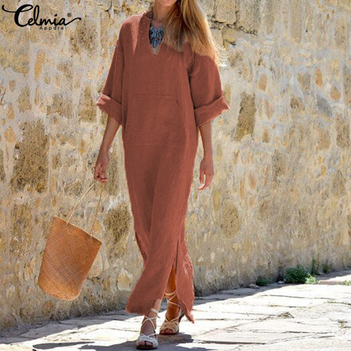 Women Vintage Maxi Long Dress 2019 Celmia Summer Autumn Sexy V Neck Long Sleeve Split Casual Loose Linen Vestidos Kaftan S-5XL
