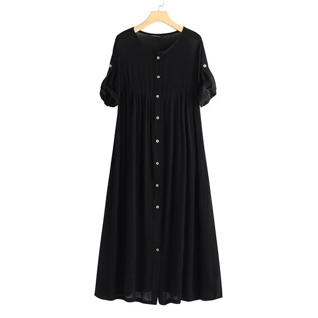 Celmia Women Maxi Long Dress Plus Size Summer Dresses 2019 Short Sleeve Casual Loose Buttons Vintage Solid Party Vestidos Robe
