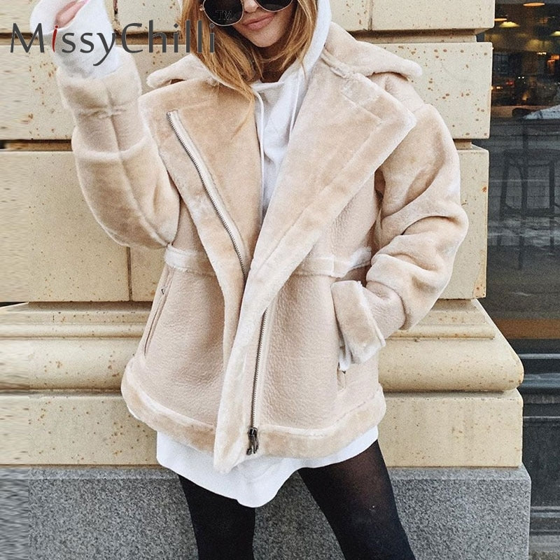 MissyChilli Faux fur patchwork soft leather coat Women autumn short warm jacket coat female fluffy teddy winter coat outwear