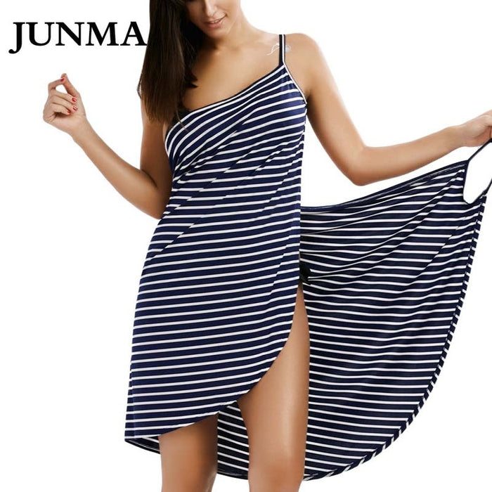 Sexy Backless Women Summer Striped Dress V-neck Swimsuit Bathing Suit Cover Ups  Beach Wear Tunic kaftan Swimwear Dresses