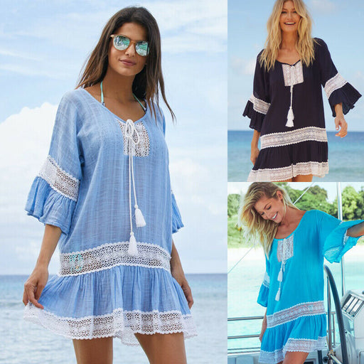 Women Casual Summer Dress Beachwear Swimwear Clothes Female Loose Kaftan Summer Crochet Dress Tops New Hot Costumes