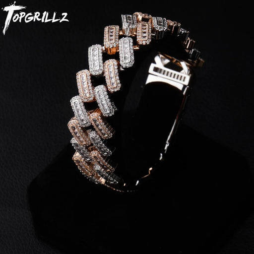 TOPGRILLZ 20mm Box buckle Clasp Baguette Zircon Prong Setting Cuban Bracelet Iced Out Cubic Zirconia Chain Hip Hop Rock Jewelry