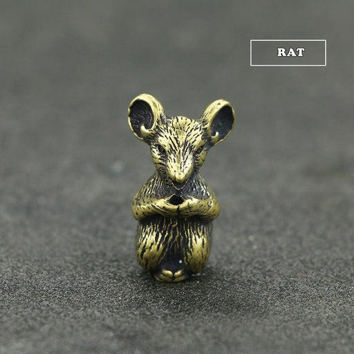 Mini Cute Brass Chinese Zodiac Animal Statue Decoration Ornament Sculpture Incense Holder Home Office Desk Decor Funny Toy Gift