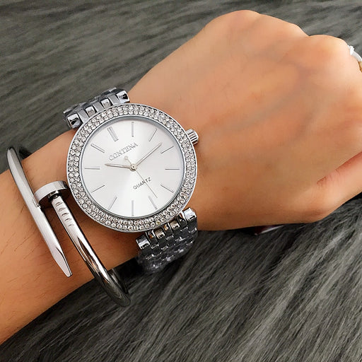 CONTENA Fashion Luxury Silver Watch Women Watches Rhinestone Women's Watches Ladies Watch Stainless Steel Clock reloj mujer