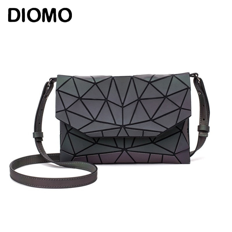 DIOMO Geometric Ladies Shoulder Messenger Bag Crossbody Bags for Women Luminous Reflective Small Purse Envelope Bag