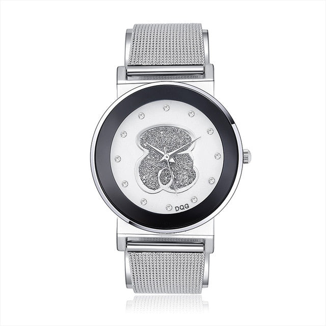 2019 New Famous Brand DQG Women Silver Mesh belt Quartz Watches Crystal Luxury Casual Analog Bear Watches Relogio Feminino