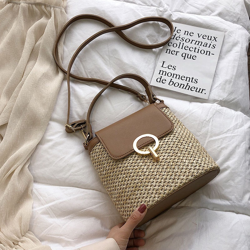 Rattan Bucket Bag Women Shoulder Bags Crossbody Bags for Women 2019 Summer Beach Straw Bag Ladies Handbag Bolsa Feminina Palha