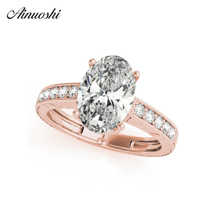 AINUOSHI 925 Sterling Silver Rose Gold Color Oval Cut 3ct 4 Prongs Wedding Rings Women Silver Bridal Rings Anniversary Gifts
