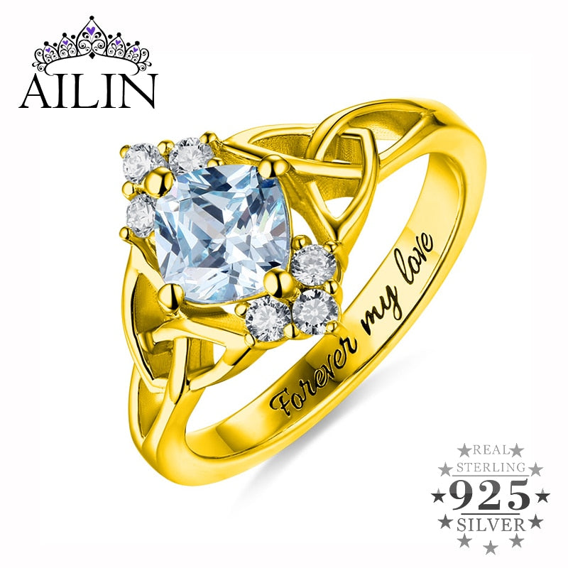 AILIN Lady Gold Anniversary Gift Special Knot With Birthstone Ring For Her Women Wedding Ring Size 6-12 For Girlfriend