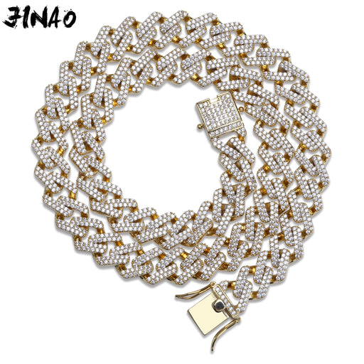 JINAO Hip Hop Jewelry Cuban Chain Iced Out Chain Bling Cubic Zircon Necklace Micro Pave Link Chain Statement Necklace Two Clasp