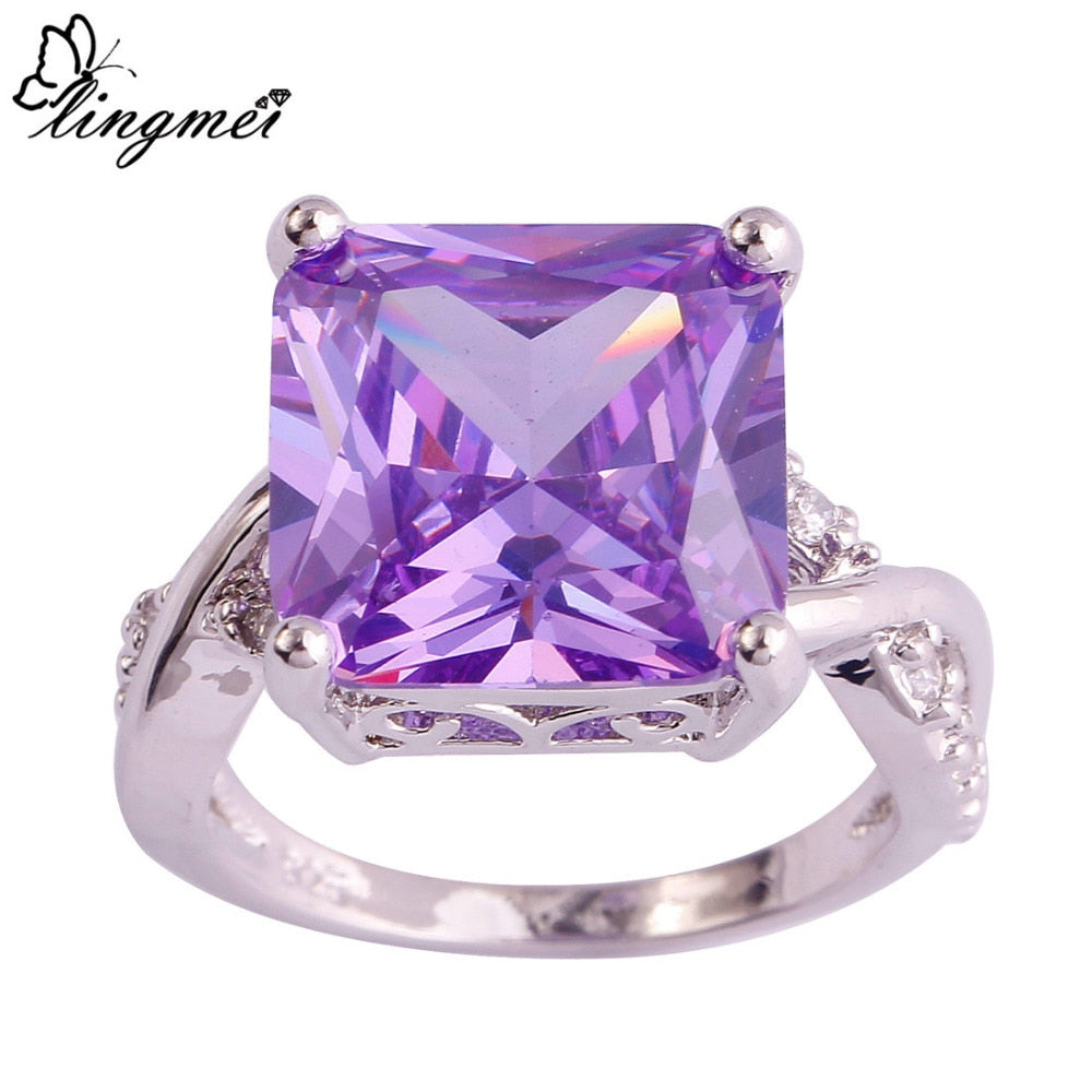 lingmei Wholesale Fashion Women AAA Cubic Zirconia Silver Ring Jewelry Size 6 7 8 9 10 For Wedding Engagement Free Shipping