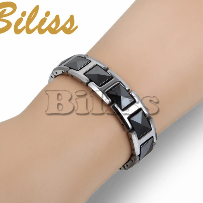 Fashion Cool Black Ceramic Bracelet Health Energy with Magnetic Stone Tungsten Chain Bracelets For Men 19.8*12 mm pulseiras