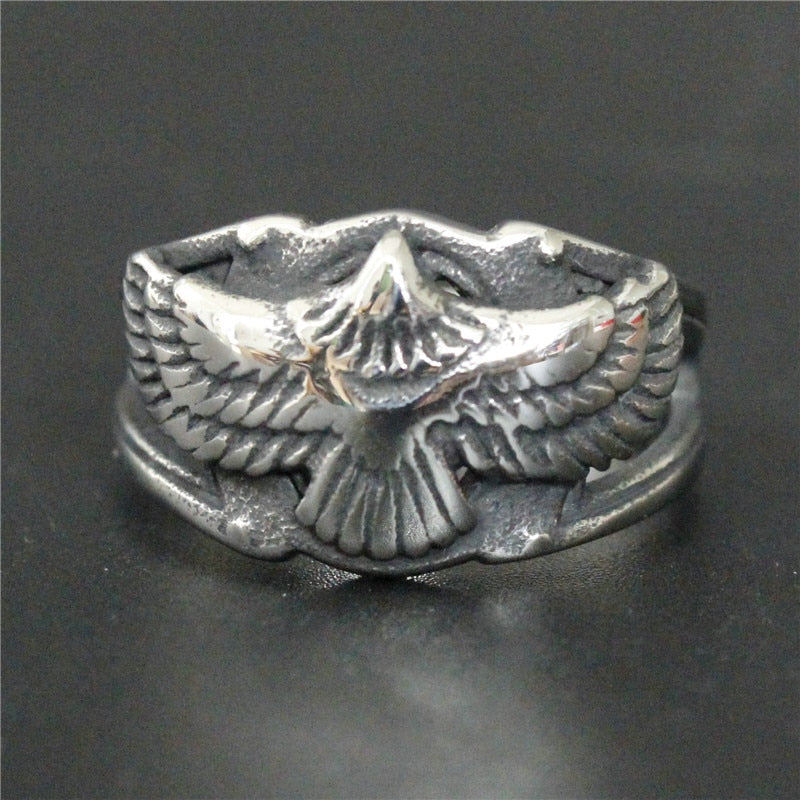 Support Drop Ship Flying Eagle Biker Ring 100% 316L Stainless Steel Jewelry Men Boys Cool Ring