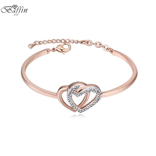 2017 New Fashion Charm Hearts Bracelets Bangles Crystal From Austrian For Women Weddings Party Brand Jewelry Gifts
