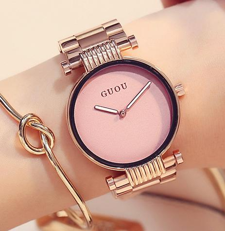 AAA Top Brand GUOU Fashion Trendy Simple Style Women Quartz Watch Rose Gold Full Steel Ladies Female Dress Watches Wristwatch