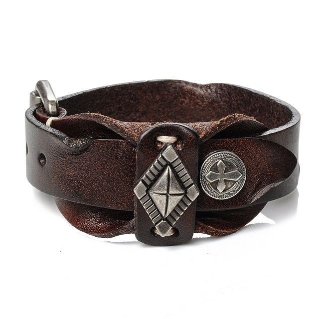 Jiayiqi 2017 Vintage Cuff Leather Bracelet for Men Cross Pattern Punk Wristband Double Layer Adjustable Bangles Male Jewelry