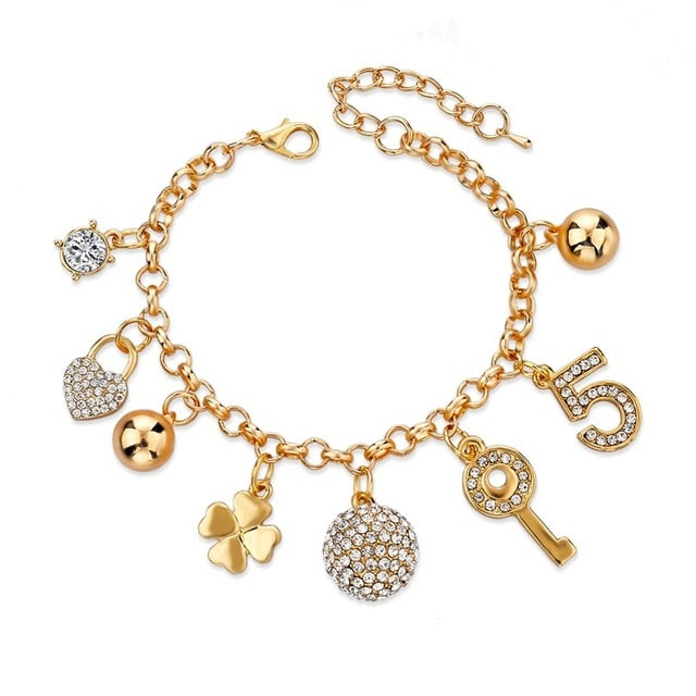 LongWay Heart Beetle Charm Bracelets Bangles For Women Gold Color Bracelet Austrian Crystal Chain Pulseras SBR140221