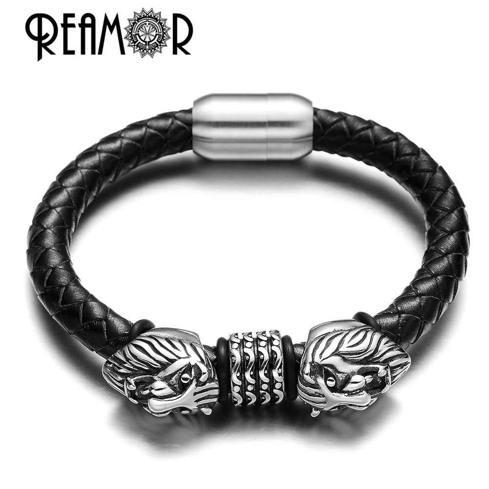 REAMOR Men 316l Stainless steel King of Lion Animal Bracelets Genuine Braided Leather Bracelet & Bangle with Magnet Clasps