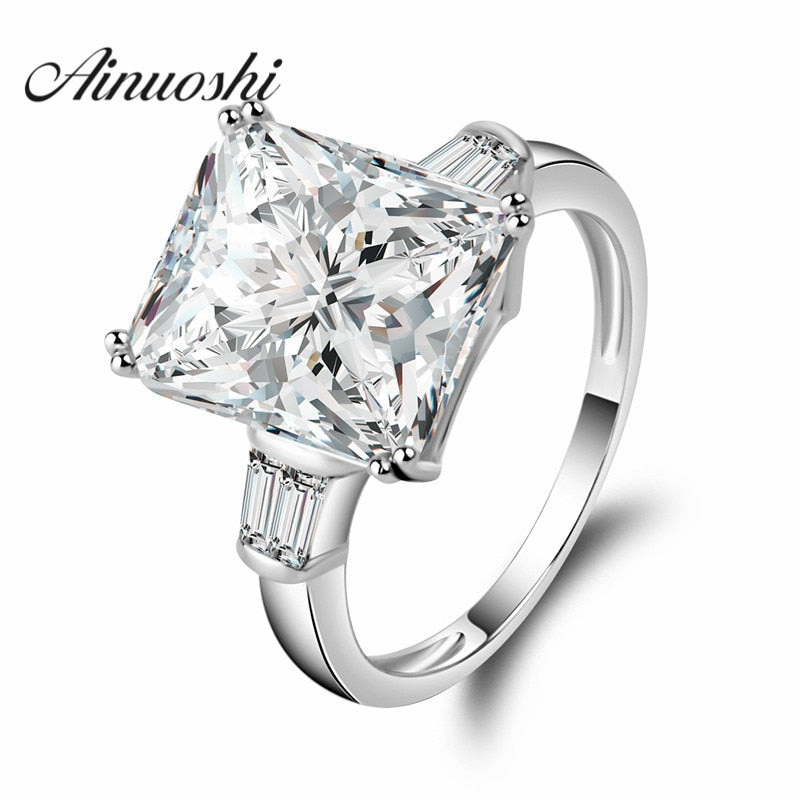 5ct Big Square Rings Rectangle Cut Princess Ring 925 Solid Sterling Silver Gorgeous Jewellry Western Style aneis Wedding Rings