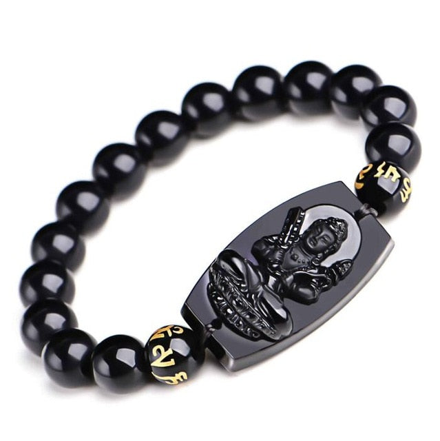 10MM High Quality Natural Black Obsidian Carved Buddha Lucky Amulet Round Beads Bracelet For Women Men Bracelet  Jewelry