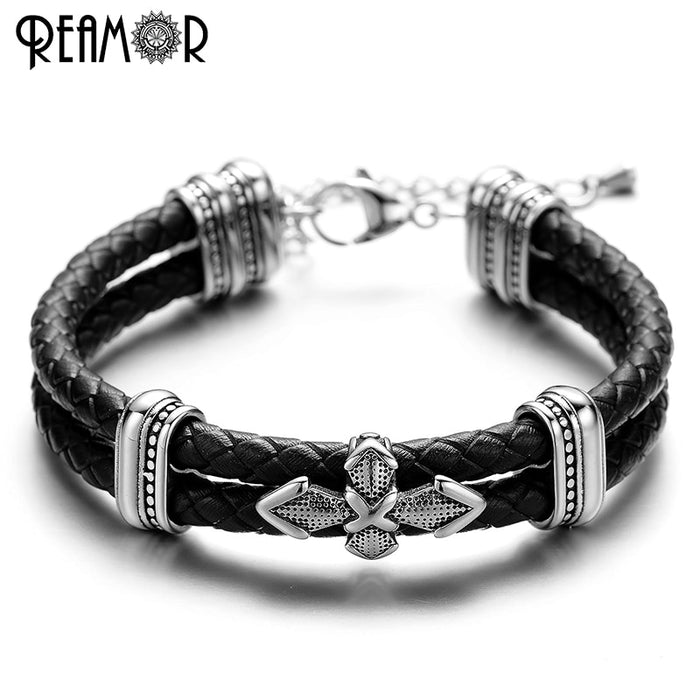 REAMOR 3 Modle Cross Style Charm Trendy Bracelets 316L Stainless Steel Adjustable Chain Double Braided Leather Rope Bangles Men