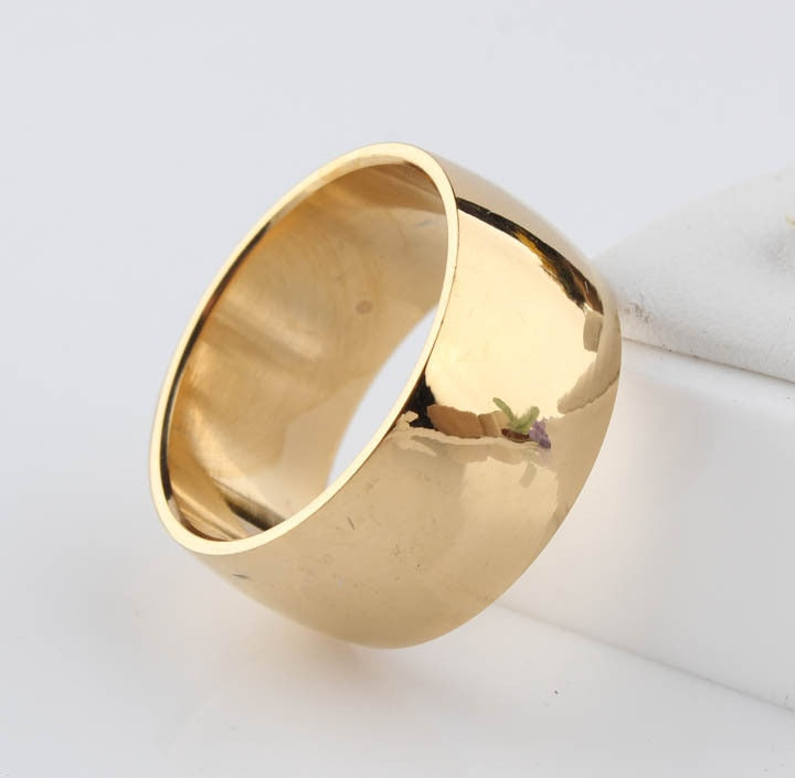 12mm No fading 24k Classic Engage Wedding rings 1.2CM Yellow Gold Ring filled 316L Titanium steel rings for men and women