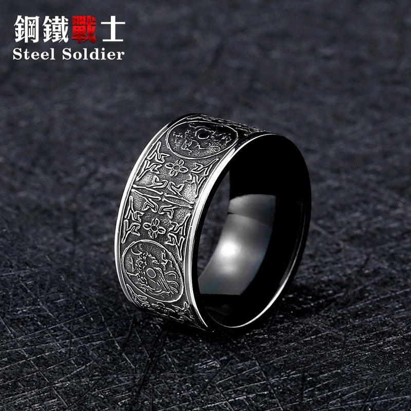 Steel soldier drop shipping stainless steel chinese style four animal fashion high quality men jewelry titanium steel  jewelry