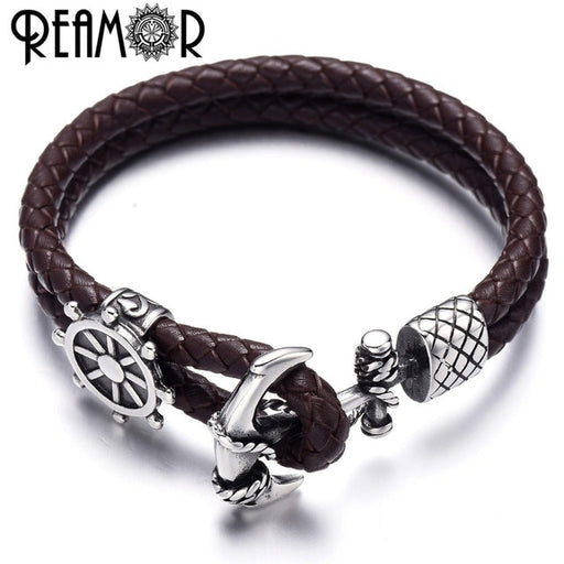 REAMOR 316l Stainless steel Compass Shield Bead Anchor Connector Charms Genuine Leather Men & Women Bracelets Bangles Jewelry