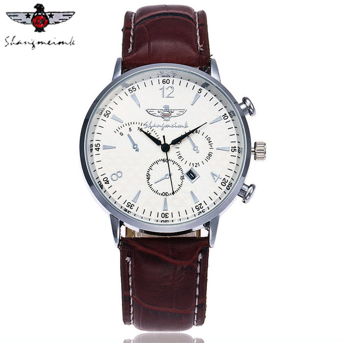 SHANGMEIMK Brand Watches Men Fashion Calendar Clock  Luxury Leather Strap Quartz Male Wrist Watches Gift Relogio Masculino