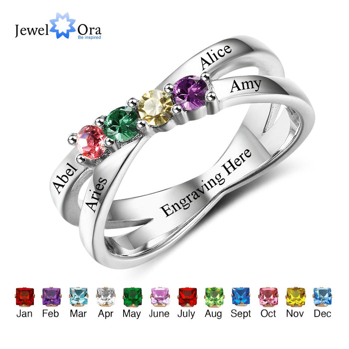 Family & Friendship Ring Engrave Names Custom 4 Birthstone 925 Sterling Silver Mothers Rings Gift For Mom (JewelOra RI102509)