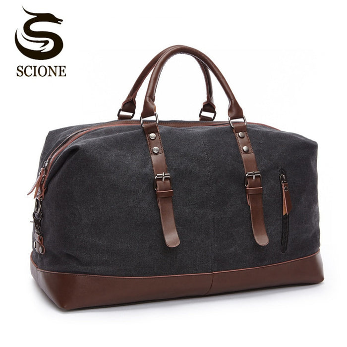 Scione Canvas Leather Men Travel Bags Carry on Luggage Bag Men Duffel Bags Travel Tote Large Weekend Bag Overnight Male Handbag