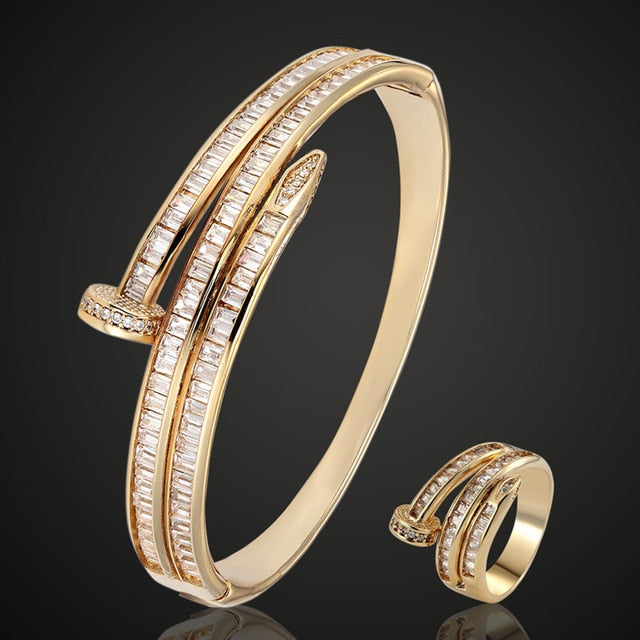 Brand Cubic Zircon bangle For Women Party Anniversary Jewelry Copper Men Bangle Pulseira Women's Gold-color Bangle & Braceletes
