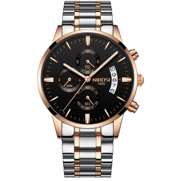 NIBOSI Relogio Masculino A Prova D ' gua Grande Watches Men Luxury Brand Full Steel Quartz Watches Men Leather Chronograph Watch